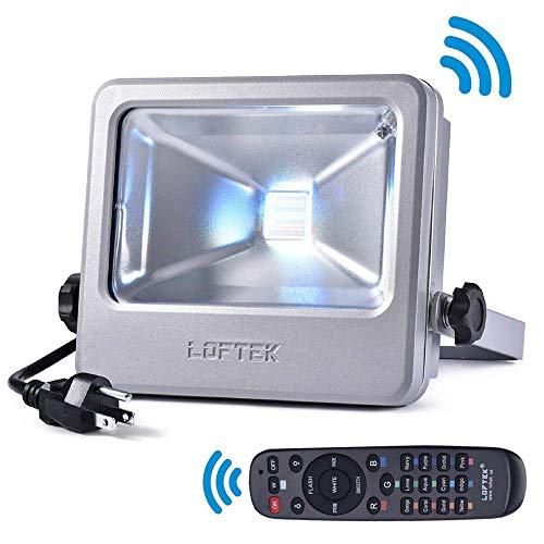 LOFTEK Nova S RGB LED Flood Light, 50W Outdoor Color Changing Floodlight with US 3-Plug, IP66 Waterproof Dimmable Wall Washer Light, Stage Lighting, Silver