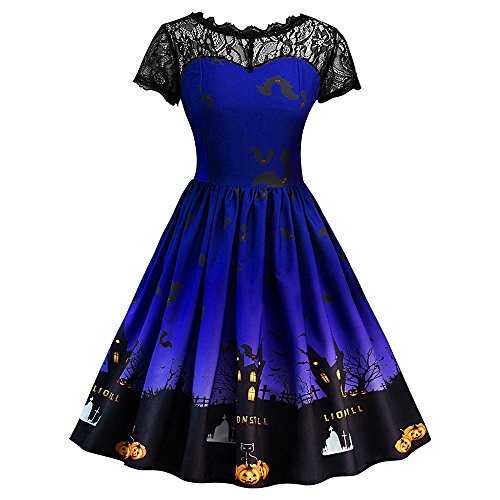 CharMma Women's Vintage Short Sleeve Lace Insert Halloween Party Dress (M, Blue) (M And M Halloween Dress)