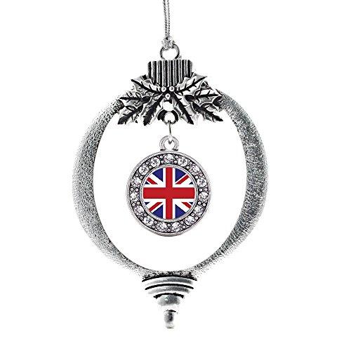 Inspired Silver UK Flag Circle Holiday Decoration Christmas Tree Ornament (Uk Decorations Christmas)