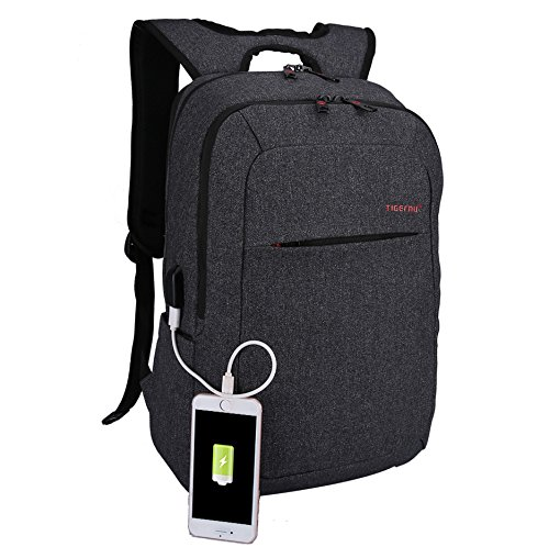 Kopack Laptop Backpack with USB port charger Slim Business Computer Backpack Anti-Theft Water Resistant Travel Laptop Bag Lightweight 15 15.6 inch Gray Black