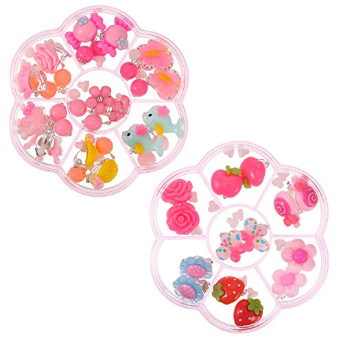 Frienda 14 Pairs Play Earrings Clip On Earrings Girls and Extra 28 Pieces Earring Pads Set Packed in 2 Clear Pink Boxes