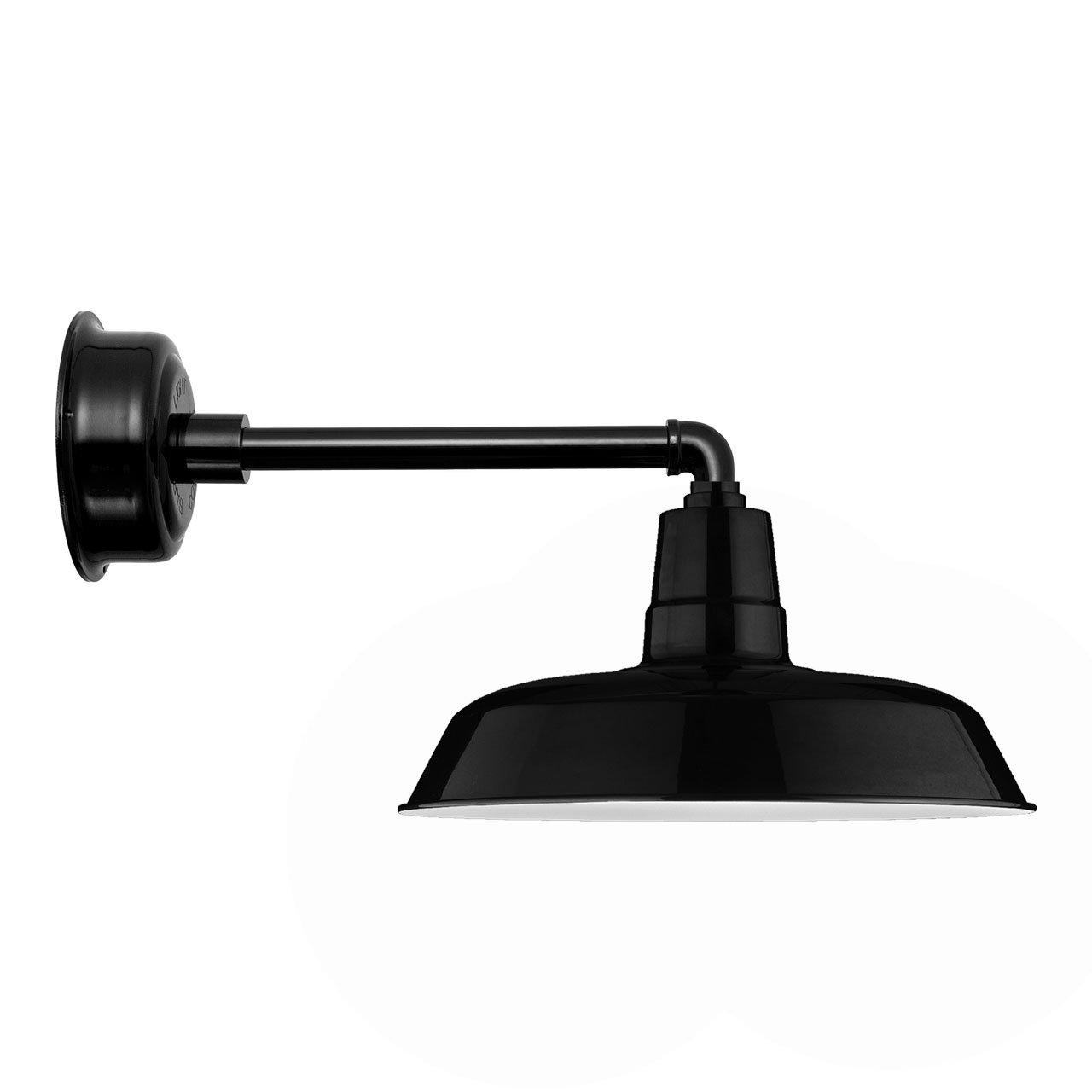 Cocoweb BOAW14BK-1B Oldage LED Barn Light With Metropolitan Stem, 14'', Black