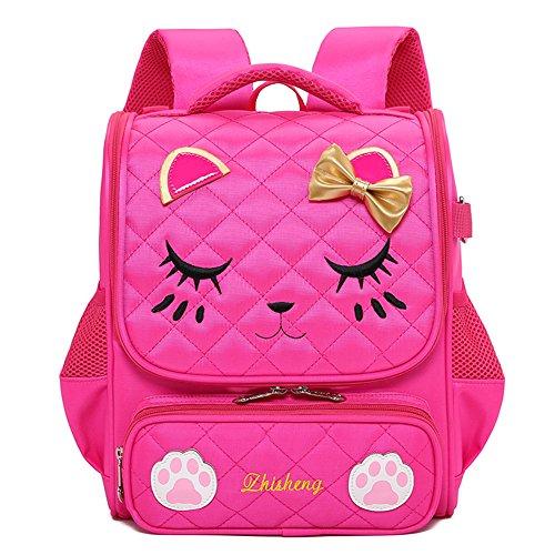 Moonmo Cute Cat Face Pink Kitty Waterproof School Backpack Girls Book Bag (Large, Rose)