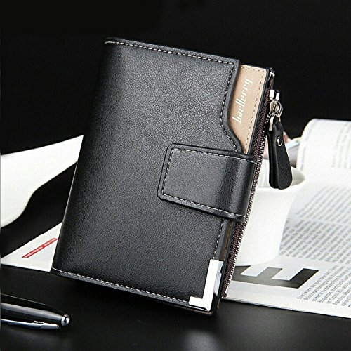 Mens Pockets Leather Wallet,ARC leather wallet tri fold with Card Slots/ Coin Pkts with/tri fold (Black)