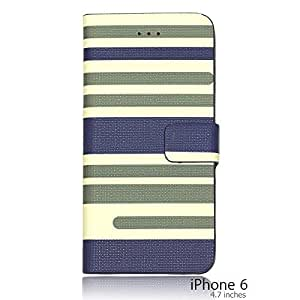 OnlineBestDigital - Striped Style PU Leather Wallet Flip Stand Case for Apple iPhone 6 (4.7 inch)Smartphone - Blue with 3 Screen Protectors