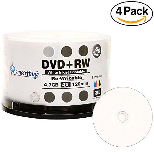 200 Pack Smartbuy Blank DVD+RW 4x 4.7GB 120Min White Inkjet Hub Printable Rewritable DVD Media Disc by Smartbuy