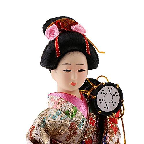 Baoblaze 2 Pieces Japanese Kimono Geisha Dolls Figurine Craft Collectibles 2 Piece Japanese Doll