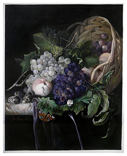 Fruit Still Life (Peaches, Chestnuts and Grapes in an Overturned Basket) - Willem van Aelst high quality hand-painted oil painting reproduction on canvas