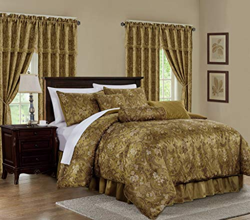 Chezmoi Collection Lennox 7-Piece Gold Floral Jacquard Embroidered Motif Comforter Bedding Set, King Size (Jacquard Bedding King)