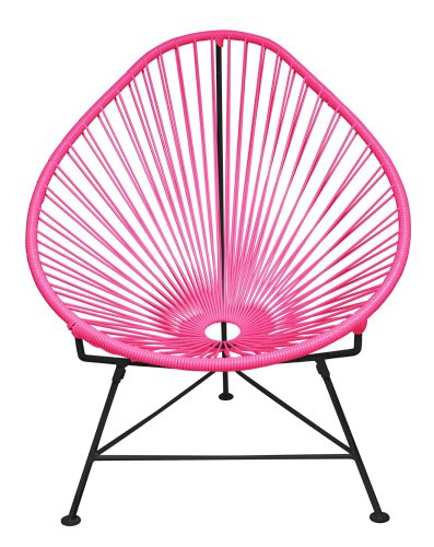 Innit Designs Acapulco Chair, Pink Weave on Black Frame