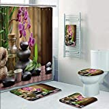 Philip-home 5 Piece Banded Shower Curtain Set Zen Basalt Stones and Bamboo on The Wood Decorate The Bath