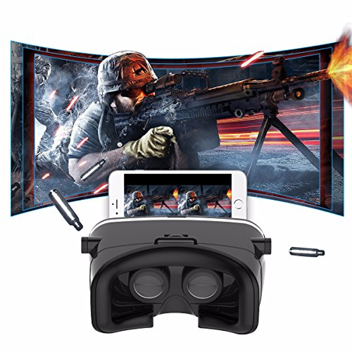 SIDARDOE 3D VR Headset, Virtual Reality Glasses with Andriod Bluetooth Remote Controller, Watching 360 Degree Panoramic Videos and 3D Movies, Playing Immersive Games Within 4 to 6 Inches