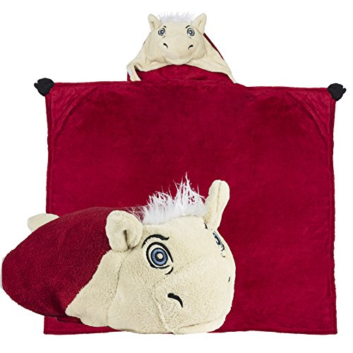 (Comfy Critters Stuffed Animal Blanket - College Mascot, University of Oklahoma 'Sooner Schooner' - Kids Huggable Pillow and Blanket Perfect for The Big Game, Tailgating, and Much More)