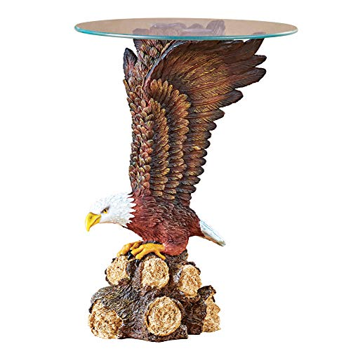 Collections Etc Glass Top Eagle Sculpture Accent Table - Unique Home Décor for Any Room