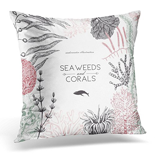 Breezat Throw Pillow Cover Brown Plant Design with Sea Corals Fish Stars Sketch Vintage Underwater Natural Sealife Wedding Green Decorative Pillow Case Home Decor Square 20x20 Inches Pillowcase (Coral Star Polyp)