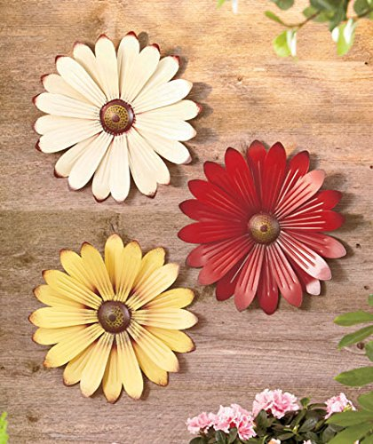 Set of 3 Cream Red Yellow Metal Flower Wall Art Garden Whimsical Spring Flowerpot Decor (Sunflower Metal Wall Art)