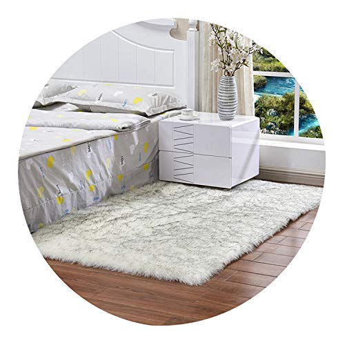 Daydreaming-shop Carpet Long Faux Fur Artificial Skin Rectangle Fluffy Photograph Mat Thick Floor Carpets Living Room Floor Rug Mat Home Decoration Rug,Gray White,70X180cm