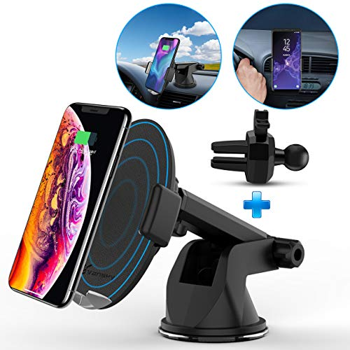 Wireless Car Charger, Vansky 2-in-1 Auto-Clamp 10W Qi Charger Dashboard Car Mount Air Vent Phone Holder for Car, Touch Sensitive for iPhone Xs Max/XR/XS/X/8 Plus, Samsung Galaxy S9 Plus/S8/S8 Plus