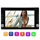Eincar Double Din Universal Car Radio Stereo In Dash 6.2-inch HD Multi-Touch Screen Car DVD Player 8GB GPS Navigation Stereo AM/FM Autoradio Support SD/USB/Bluetooth/1080P/steering wheel control/Phone