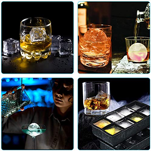 Ice Cube Trays Silicone Combo Mold, Silicone Sphere Ice Ball Maker with Lids and Large Square Ice Cube Molds for Whiskey & Cocktail Reusable BPA Free (Set of 2)