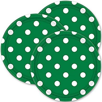 TradeMart Inc 551537.03 96 Piece Amscan Festive Green Dots Lunch Paper Plates Color Disposable Round 9 Pack 8 Party Supplies