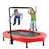 Cheap ANCHEER Mini Rebounder Trampoline with Adjustable Handle for Two Kids, Parent-Child Trampoline (Red)