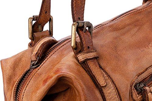 Ira del Valle, Borsa Donna, In Vera Pelle Vintage, Made in Italy, Modello Andalusia Bag, Borsa Grande a Mano e Spalla con Tracolla da Donna Ragazza Cognac