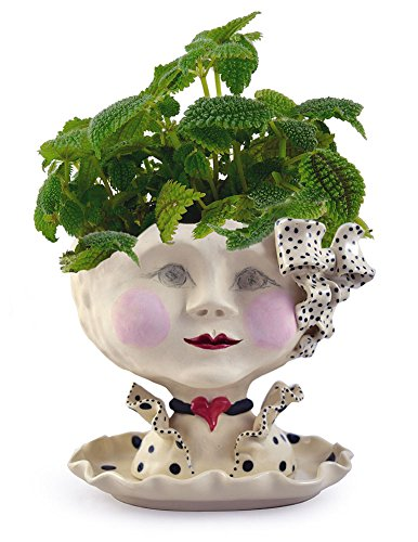 Victorian Lovelies Sculpted Indoor Head Planter: Dotty Debutante Version