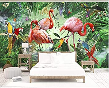 Poster Muraux Tapisserie Photo YFXGSTLI Papier Peint Jungle Flamant Rose-W200xH140cm