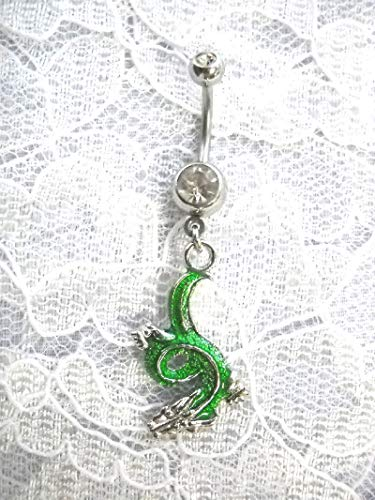 (New Green Chinese Dragon Charm Dangling ON Dazzling Clear Belly Button Ring)