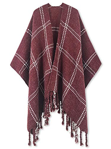 Women Poncho Shawl Cardigan Open Front Elegant Cape Wrap ()