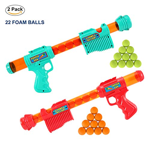 FUNEW Power Popper Gun, Dual Battle Pack, Foam Ball Air Powered Shooter Toy Guns for Kids Role Playing with Their Family Members or Partners, 22PCS Balls