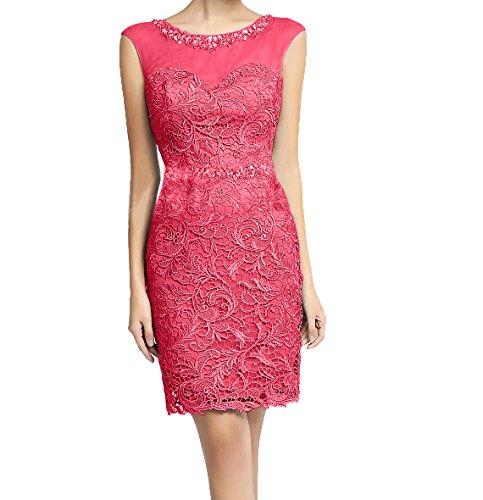 Spitze Etuikleider Partykleider Brautmutterkleider Charmant Damen Steine Mini Abendkleider Wassermelon Kurz Promkleider 1CaUq