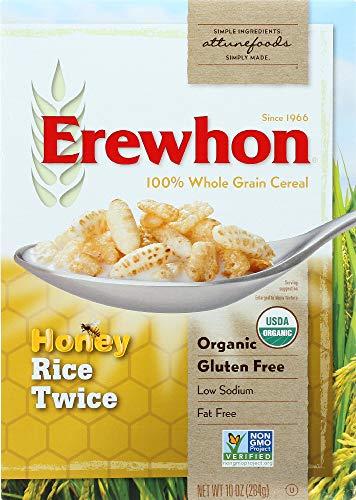 Erewhon Honey Rice Twice Cereal, Gluten-Free Organic Breakfast Snack, 10 Ounce