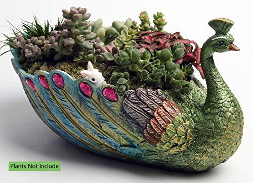Handmade 9.4 Inch Peacock Pot Resin Base Large Succulent Planter/Succulent Cactus/Plant Pot/Flower Pots/Container/Succulent Pot/with Hole for Home Garden Office Desktop Decoration Perfect Gift Idea