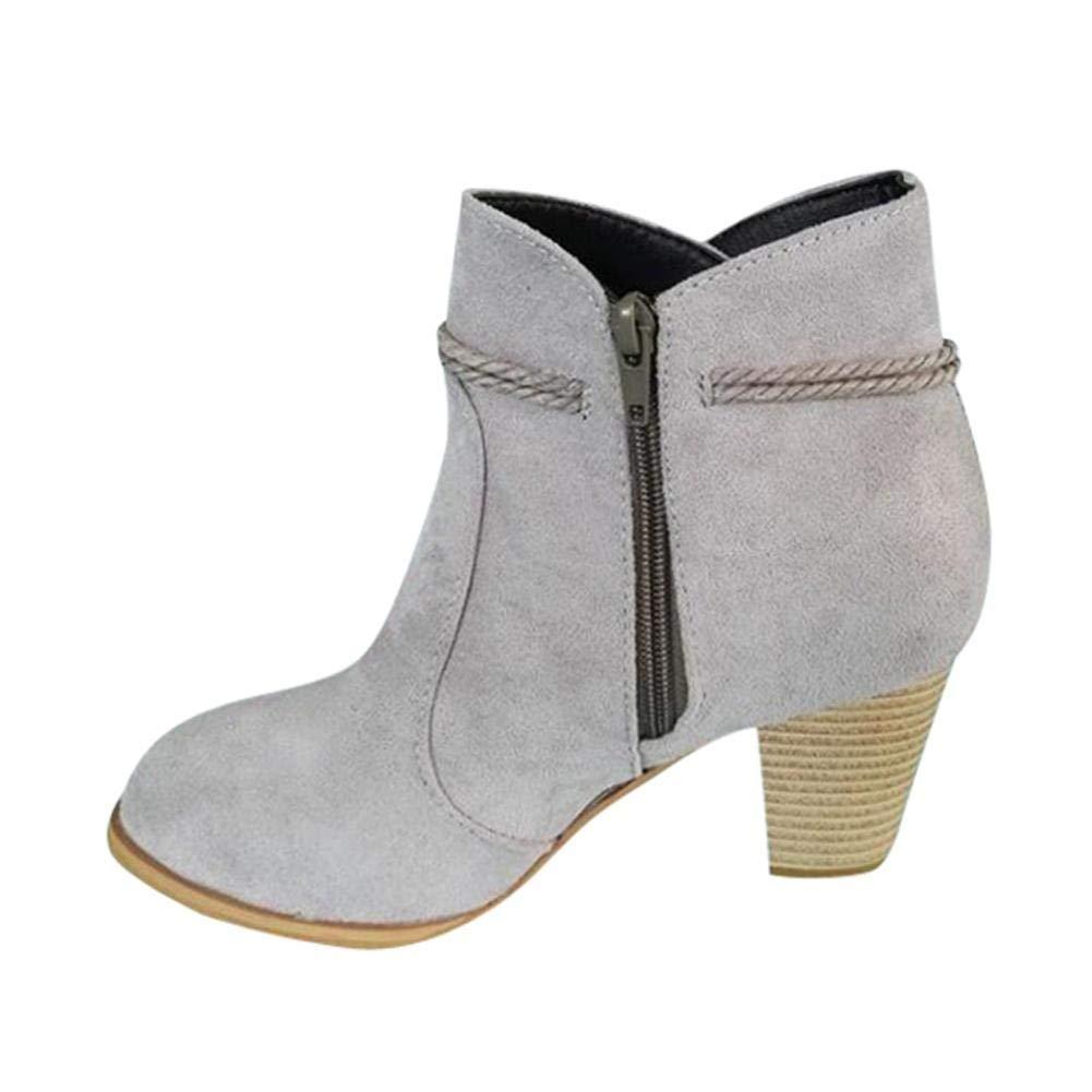 Aurorax-shoes 2018 New Women's Zipper Block Heel Ankle Booties, Chunky Block Heel Ankle Boots 5.5-9.5 (Gray, US:5.5)