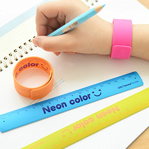 Ruler Slap Band 6pcs 180mm Party Toys Measuring School Flexible Ruler Shatterproof Stationery Assorted Colors