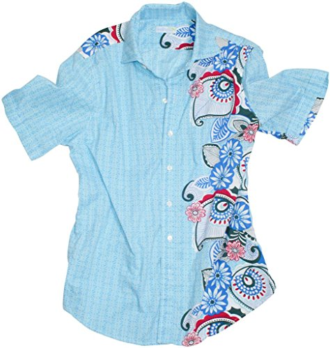 Seaplane's 'Blue Out Of Balance' Men's Blue Short Sleeve 100% Cotton Camp Shirt - Paisley Camp Shirt