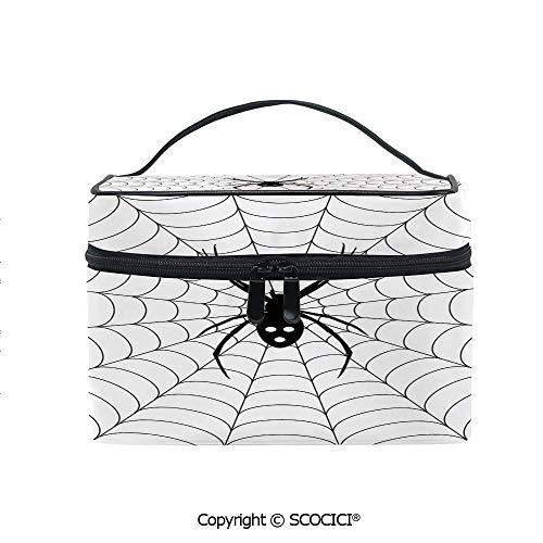 Lightweight Cosmetic Travel Bag Beauty Toiletry Bag Poisonous Bug Venom Thread Circular Cobweb Arachnid Cartoon Halloween Icon Decorative Portable Multi-function Organizer -
