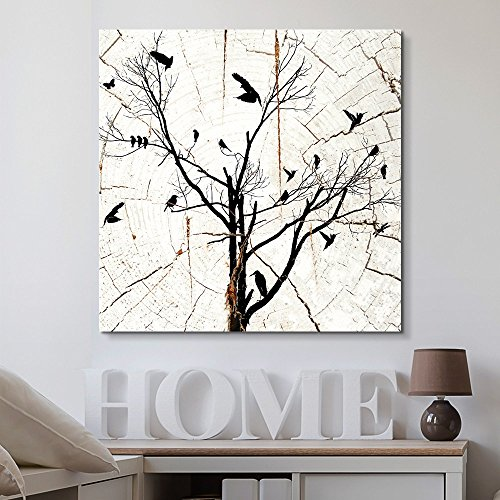Square Birds in Tree Wood Effect