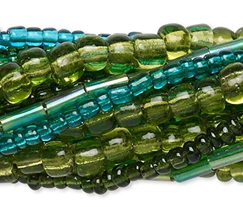 Ten 14 Strands Assorted Green Plus Seed, Bugle Glass Bead Mix