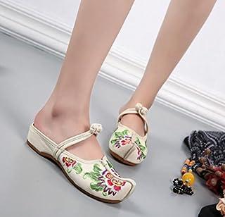 LTQ&QING new-Chaussures brod¨¦es, semelle tendineuse, style ethnique, flip flop f¨¦minin, mode, confortable, sandales d¨¦contract¨¦es, meters white, 40 flip flop fšŠminin sandales dšŠcontractšŠes