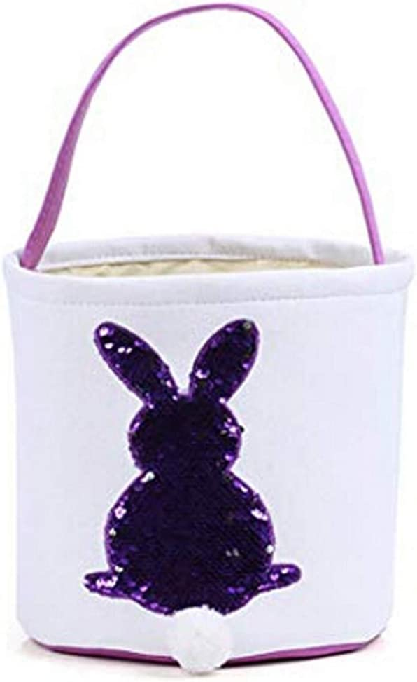 Bulk Soft Easter Egg Hunt Basket for Kids Bunny Canvas Tote One Piece, C Pink Easter Basket Easter Basket