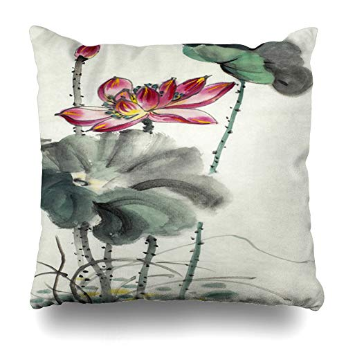 Ahawoso Decorative Throw Pillow Cover Inspiration Botany Flowering Lotus Rebirth Nature Spirituality Painting Compassion East Flower Home Decor Pillowcase Square Size 20
