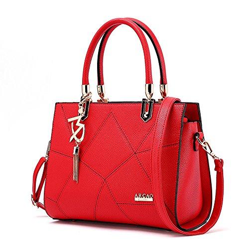 Messenger À Tassel Femme Red Pour Bandoulière Rouge Rouge Crystalzhong De Main Zipper Bureau Cosmétiques couleur Épaule Totes Lady Sac Joker f7qwwFnS
