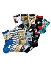 Boy's Dinosaur Style Children Cotton Sport Crew Kids Socks 10 Pairs