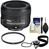 Nikon 50mm f/1.8 G AF-S Nikkor Lens with UV Filter + Accessory Kit for Digital SLR Cameras
