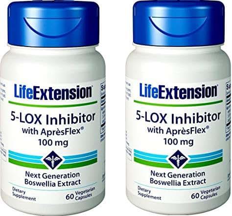 Life Extension 5-LOX Inhibitor with ApresFlex, 100 Milligram, 60 Vegetarian Capsules (Pack of 2)