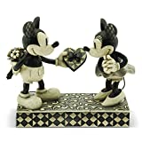 """Disney Traditions by Jim Shore Black & White Mickey & Minnie Mouse Stone Resin Figurine, 6"""""""