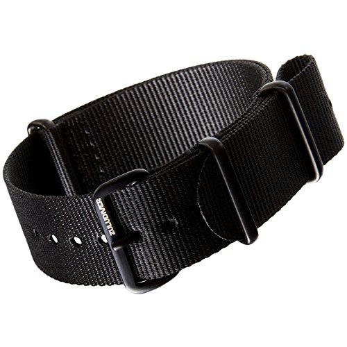 Bracelet de Montre ZULUDIVER® en Nylon, Militaire G10 NATO, Résistant et  Solide, Qualité et Confort, Noir, IP Noir, 22mm Amazon.fr Montres